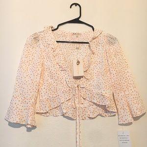 For Love & Lemons Star Print Ruffle Sleeve Blouse